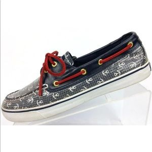 24be30de7fa0f Sperry Top-Sider Boat Shoe Sequins Anchors 8.5